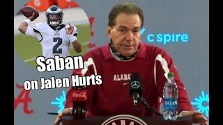 Nick Saban on Jalen Hurts being named the starting quarterback for the Philadelphia Eagles