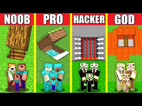 Minecraft Battle: FAMILY TRAP SECRET HOUSE BUILD CHALLENGE - NOOB vs PRO vs HACKER vs GOD Animation