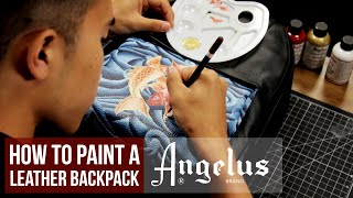 How To Paint A Leather Backpack | Koi Fish Custom | Angelus Pearlescent Paint