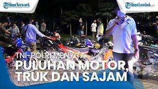 Patroli Skala Besar, TNI-Polri Sita Puluhan Motor, Truk hingga Senjata Tajam di Lombok Tengah