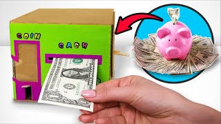 Fun Cardboard Bank To Save Both Coins And Cash
