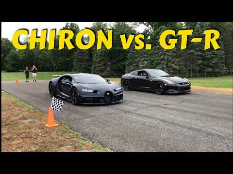 bugatti chiron vs tuned nissan gt r drag race new video