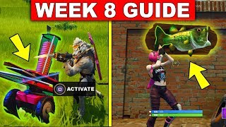 Fortnite WEEK 8 CHALLENGES GUIDE! – DANCE WITH A  FISH TROPHY LOCATION, CLAY PIGEON LOCATIONS