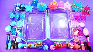 Mixing everything Pink vs Blue in Slime  - Supermanualidades
