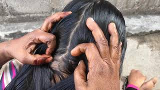 Routine Lightly Oiling for My Long Hair Care Nitpicking / LicePicking / Simple Hairstyle By Mother
