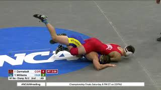 2018 NCAA Wrestling 197lbs: Ben Darmstaudt (Cornell) maj dec Matt Williams (CSU-Bakersfield)