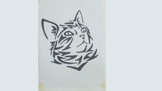 How To Draw Cat Tribal Tattoo