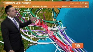13News Now Daybreak Hurricane Florence Forecast, 9/11/18