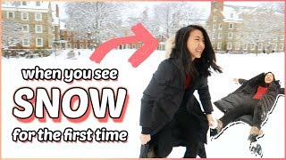 ❄️18 year old experiences snow for the first time... (college day in my life VLOG)   Katie Tracy