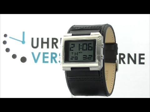 Just Herrenuhr 48-S2814BK-BR Digital Uhr Lederarmband