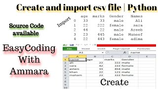 How to Import CSV File in python jupyter notebook | 21 | how to create csv file in excel in hindi