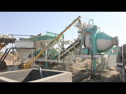 Portable Concrete Batching Plant With Reversible Drum Mixer