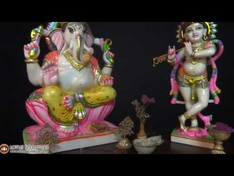 SOLD White Marble Seated Ganesh Statue 23