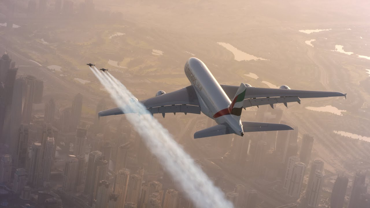 Watch Two Guys In Jetpacks Chase An Emirates A380 Through The Skies Over Dubai