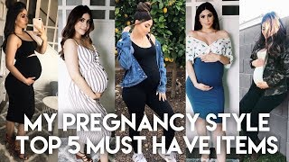 How To Be Stylish While Pregnant | My Top 5 Clothing Essentials || Maternity Outfit Ideas