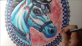 Horse Tattoo Art Watercolor Speed Painting With Colored Pencils And Fountain Pens