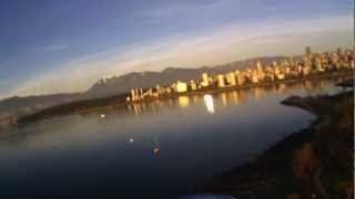 Flying rc glider Bixler at Kitsilano beach, Vancouver