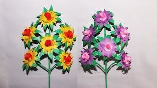 How To Make a Stick Flower With Color Paper_diy Paper Craft.