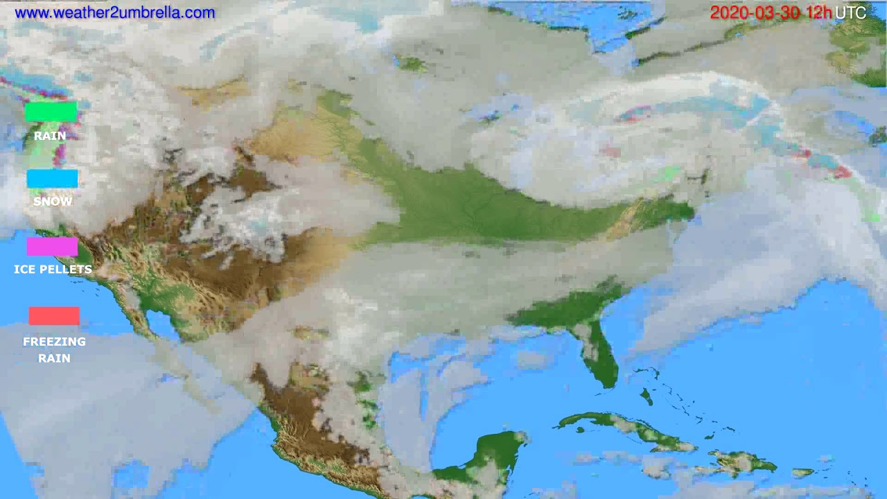Precipitation forecast USA & Canada // modelrun: 00h UTC 2020-03-30