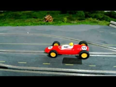 1/32 Wooden Routed Slot Car Track – 1960's theme – Scalextric C63 Lotus Test Drive