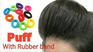 High PUFF with RUBBER BAND || Puff hairstyle with rubber band | Stylopedia