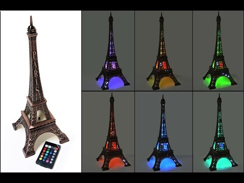 Eiffel Tower Metal Statue with Different Coloured Lights