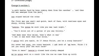 Of Mice and Men - George, Key Quotes - Section 1 (Part 1/2)
