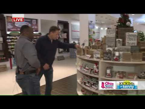 Fox 8`s Kenny Crumpton checking out Crocker Park Holiday Offerings