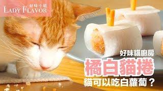 橘白貓捲!貓咪能吃白蘿蔔嗎?【貓副食食譜】好味貓廚房EP85