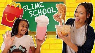 Slime School McDonald's Test Fail - Sneak Food in Class! New Toy School
