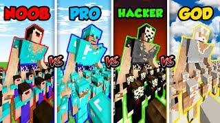 Minecraft NOOB vs. PRO vs. HACKER vs. GOD: ARMY BATTLE in Minecraft! (Animation)