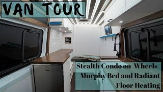 Dream Stealth Van Tour - Murphy Bed, Radiant Floor Heat, HUGE Power System