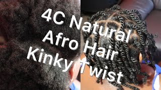 Natural 4c Afro Hair Kinky Twist | Kids Protective Hair Styles | Kids Kinky Twists Hair Styles