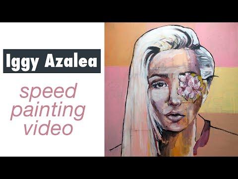 Acrylic Speed Painting Using Grid - Portrait of Iggy Azalea