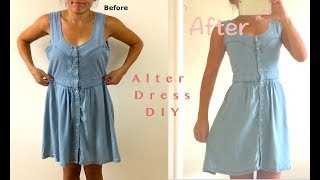 Sewing DIY: How To Alter Loose Denim Summer Dress To Fit