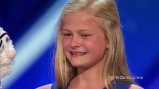 """12-летняя девочка чревовещатель спела за свою куклу-кролика на шоу """"Америка ищет таланты"""""""