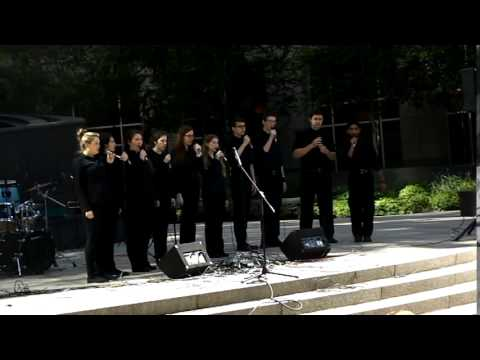 "Halifax All City Music Vocal Jazz Ensemble performs ""Autumn Leaves"" at the Prudential Centre in Boston, May 2014, with Heather Mills on solo."