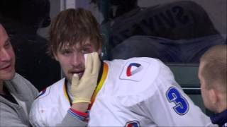 Slava Voynov fights for the first time in his KHL career