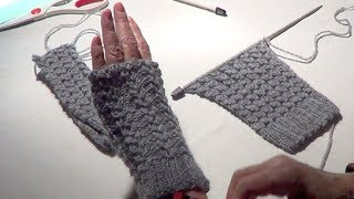 Fingerless Gloves - Eyelet Mock Cable Ribbing Stitch - Fingerless Mitts