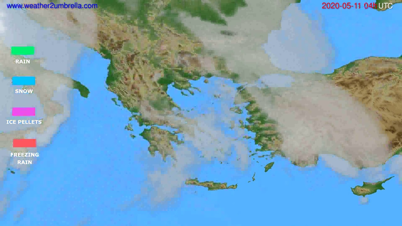 Precipitation forecast Greece // modelrun: 12h UTC 2020-05-10