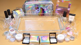 """Theme Series #17 """"hologram"""" Mixing Makeup And glitter Into Clear Slime! """"hologram Silme"""""""