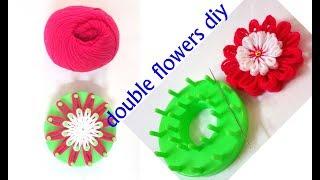 Woolen Flower Tutorial Very Easy // Woolen Flower Making || Stencil Tool Flower Making