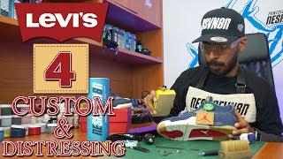 Distressed Jordan 4 X Levi's Custom by Vick Almighty