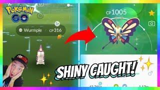 Beautifly  - (Pokémon) - SHINY WURMPLE CAUGHT in the WILD + SHINY BEAUTIFLY EVOLUTION in Pokemon Go! INSANE REACTION!