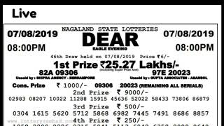 07.08.2019 DEAR EAGLE EVENING LOTTERY TIME - 08:00 PM NAGALAND STATE LOTTERY TODAY LIVE