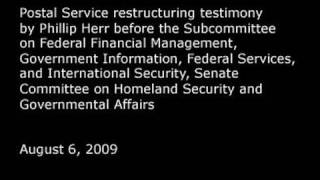 GAO: Postal Service Restructuring Added to High-Risk List Testimony, August 6, 2009