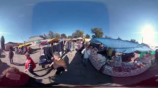 Ярмарка на базарной площади пос.Коцюбинское (Коцюбинське). Панорамное видео (360).