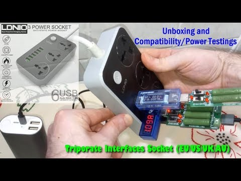 LDNIO 3-Triporate Interfaces Socket w/ 6 USB Port Unboxing and Power/Compatibility Testing