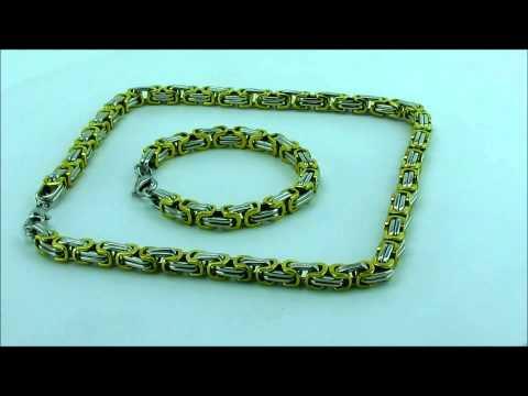 Königskette mit Armband in Gold und Silber