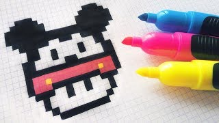 Handmade Pixel Art - How To Draw A Mushroom Mickey Mouse #pixelart